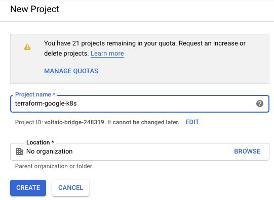 Google Cloud create project